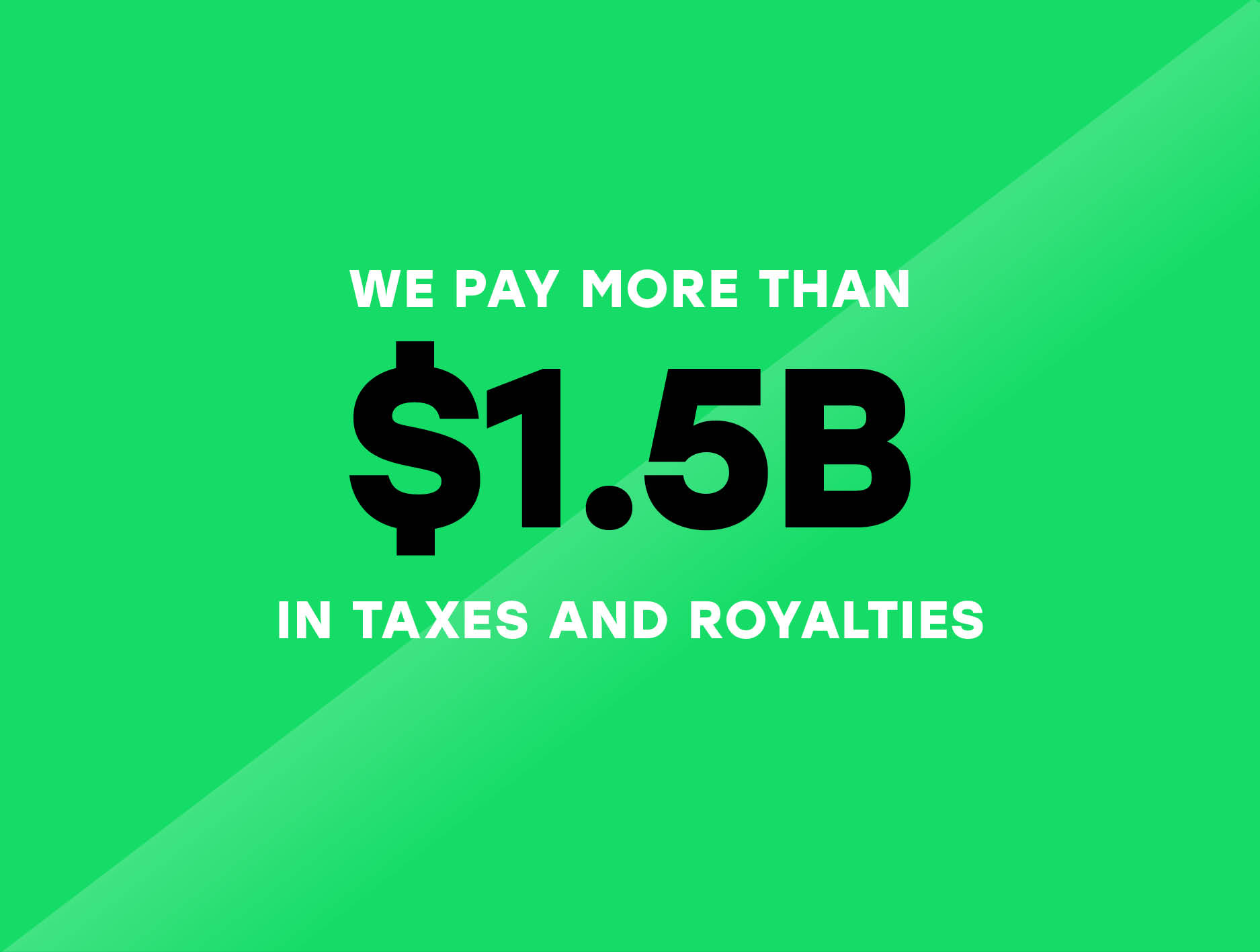 We paid 1.5 billion dollars in government taxes and royalties